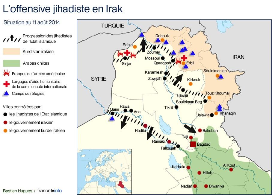 Irak : la carte pour comprendre l'offensive des djihadistes