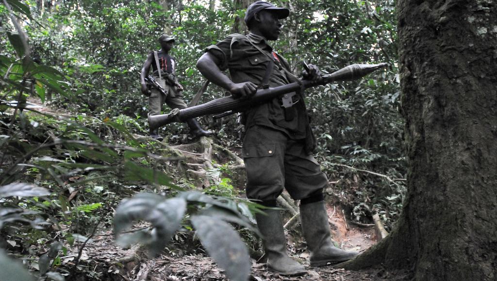 Des rebelles hutus rwandais du FLDR, en 2009, près de Pinga, à 150 km au nord-ouest de Goma. AFP PHOTO/ LIONEL HEALING