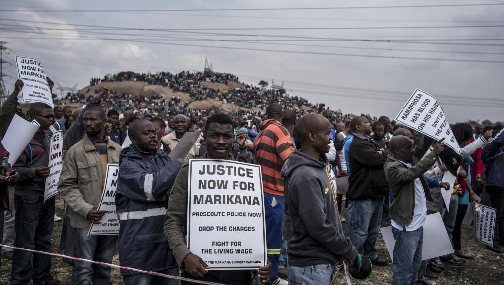 Marikana, le 16 août 2014. AFP PHOTO/MARCO LONGARI
