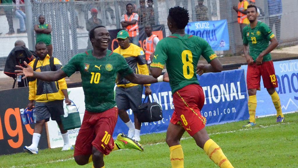 Les Camerounais Vincent Aboubacar (à gauche) et Benjamin Moukandjo (de dos). AFP PHOTO / STRINGER
