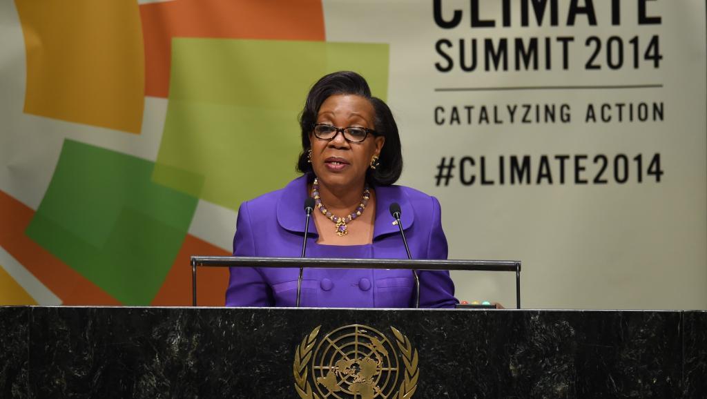 La présidente Catherine Samba-Panza s'est exprimée sur la situation de la RCA lors de l'assemblée générale de l'ONU, le 23 septembre 2014. AFP PHOTO / Timothy A. CLARY