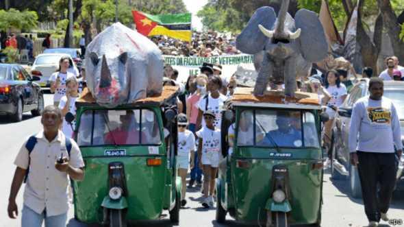 Les manifestants ont défilé dans les villes sud-africaines où le braconnage est particulièrement important.