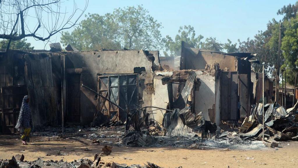 Des décombres d'habitations dans la ville de Bama, au nord-est du Nigeria, après une attaque de Boko Haram en février 2014. AFP PHOTO / STRINGER