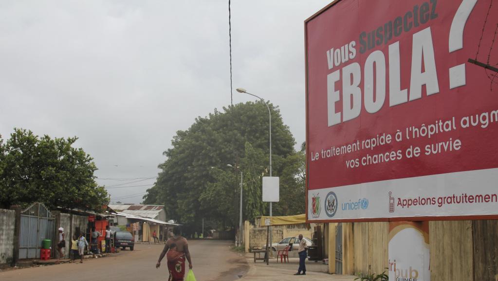 Message de prévention sur le virus Ebola à Conakry en Guinée, le 26 octobre 2014. REUTERS/Michelle Nichols
