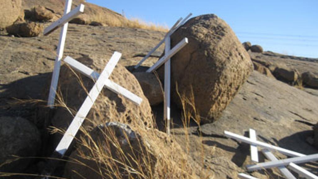 La colline numéro 2 à Marikana. C'est là que 34 mineurs en grève illégale ont été abattus par la police en août 2012. Sonia Rolley/RFI