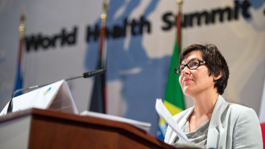 Annick Girardin, secrétaire d'Etat française au Développement et à la Francophonie, lors du sommet mondial de la santé, le 20 octobre à Berlin. AFP PHOTO / DPA / BERND VON JUTRCZENKA /GERMANY OUT