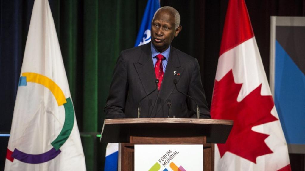 L'ancien président sénégalais Abdou Diouf, secrétaire général de la Francophonie, lors de la cérémonie d'ouverture du Forum Mondial de la langue française à Québec le 2 Juillet 2012. AFP PHOTO/ROGERIO BARBOSA