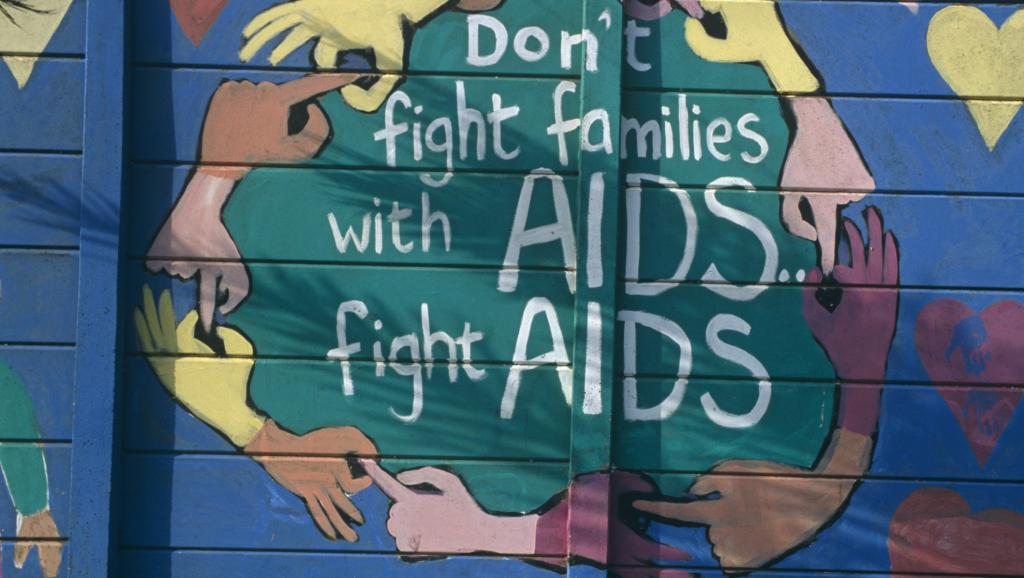Affiche alertant sur le problème du Sida en Afrique du Sud et appelant à lutter contre la maladie. Travel Ink