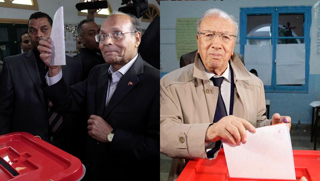 Le président sortant Moncef Marzouki (g), et le leader de Nidaa Tounes, Béji Caïd Essebsi (d) sont les deux candidats du second tour de l'élection présidentielle en Tunisie. REUTERS/Montage RFI
