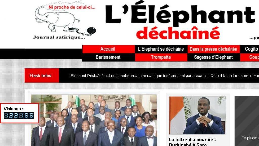 Page d'accueil du site internet de «L'Eléphant déchaîné». capture écran