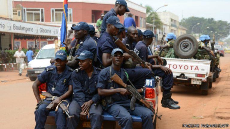 Les soldats de la paix des Nations Unies (minusca) à Bambari