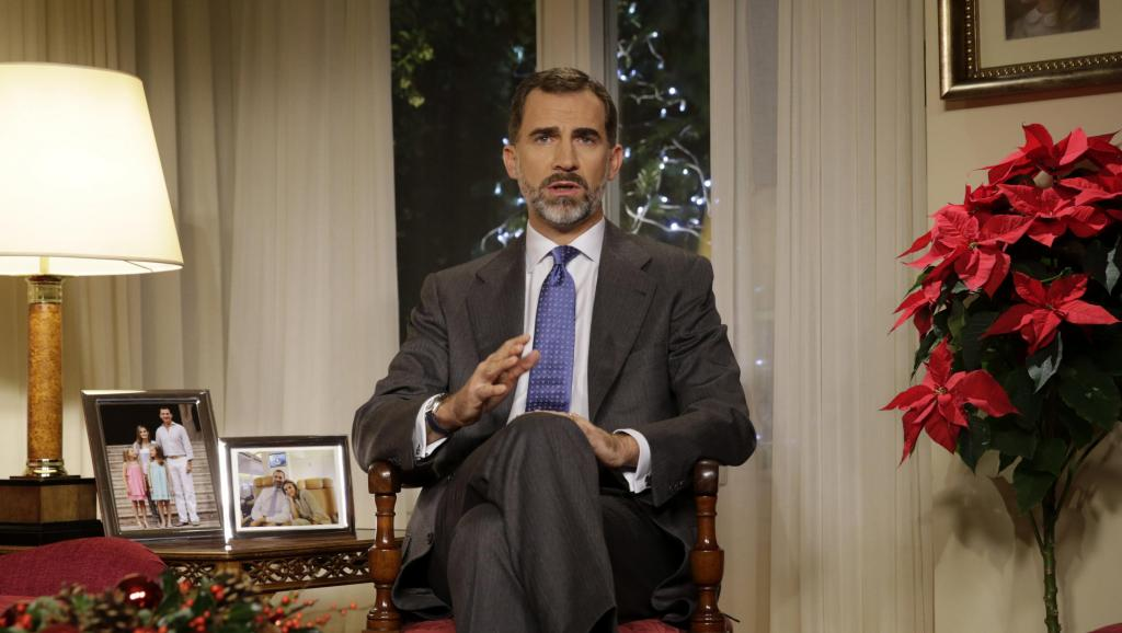 Le roi Philippe VI d'Espagne a donné son premier discours de Noël, le 24 décembre 2014. AFP PHOTO / ANGEL DÍAZ