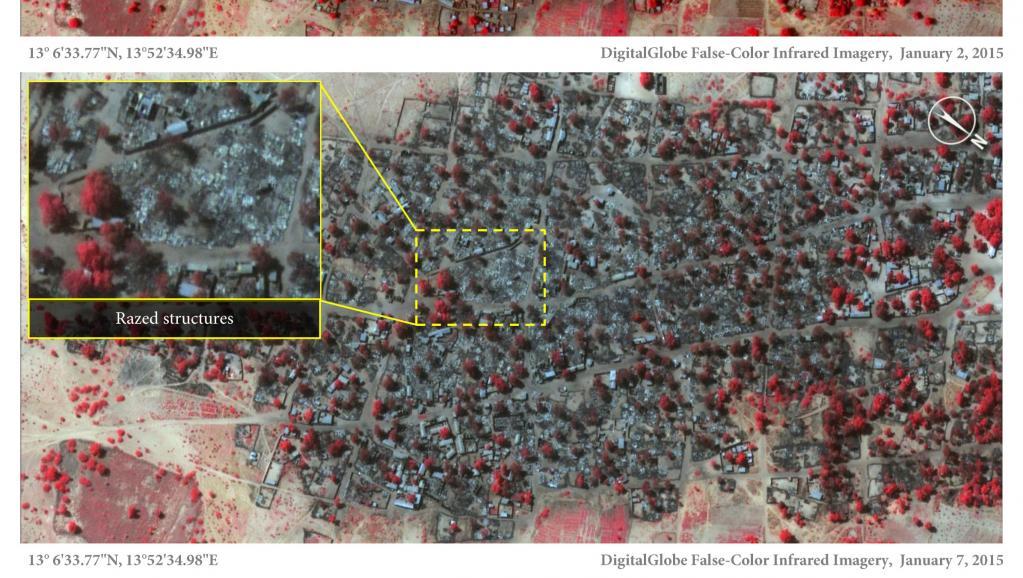 Ces deux photos satellite prises à cinq jours d'intervalle montrent que le village de Baga a été en partie rasé entre le 2 et le 7 janvier 2015. AFP PHOTO / DIGITALGLOBE / AMNESTY INTERNATIONAL