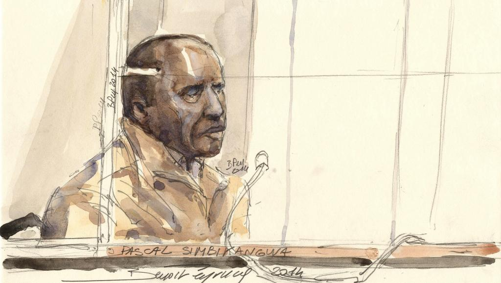 Dessin représentant l'accusé Pascal Simbikangwa lors de l'audience du 4 février 2014 à Paris. AFP PHOTO / BENOIT PEYRUCQ