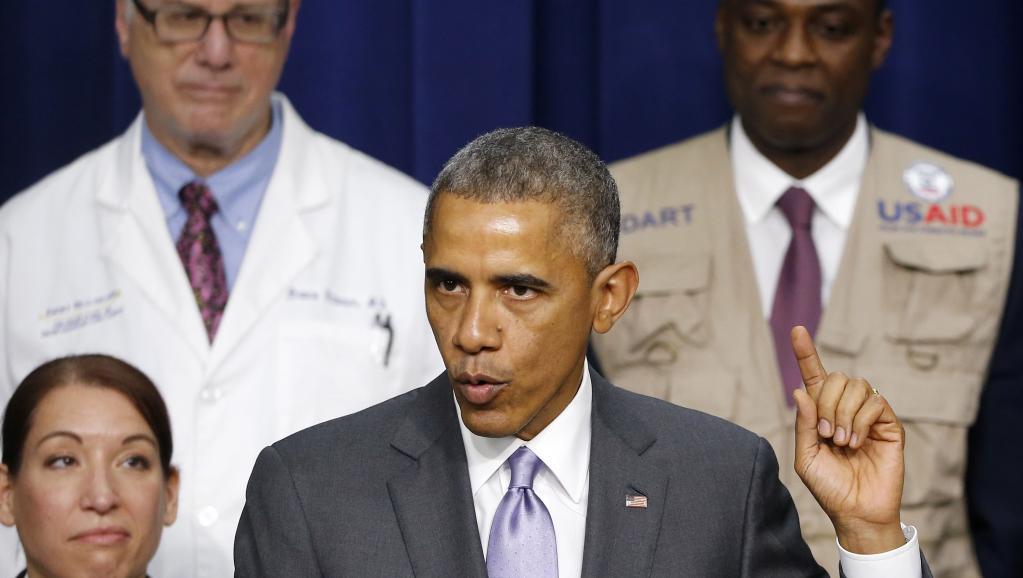 Le président américain Barack Obama lors de son discours sur les progrès de la lutte contre l'épidémie d'Ebola, le 11 février 2015.