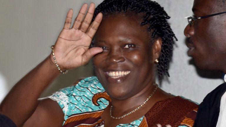 Simone Gbagbo à son arrivée au tribunal pour sa comparution.
