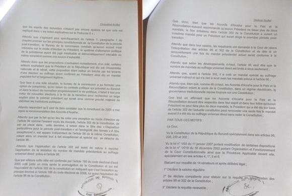 Urgent – Burundi: La Cour constitutionnelle pour une nouvelle candidature de Nkurunziza (Document)
