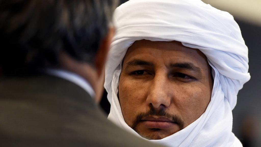 Bilal Ag Acherif, président de la Coordination des mouvements de l'Azawad, lors de la cérémonie de clôture des négociations inter-maliennes à Alger, le 1er mars 2015. AFP PHOTO / FAROUK BATICHE