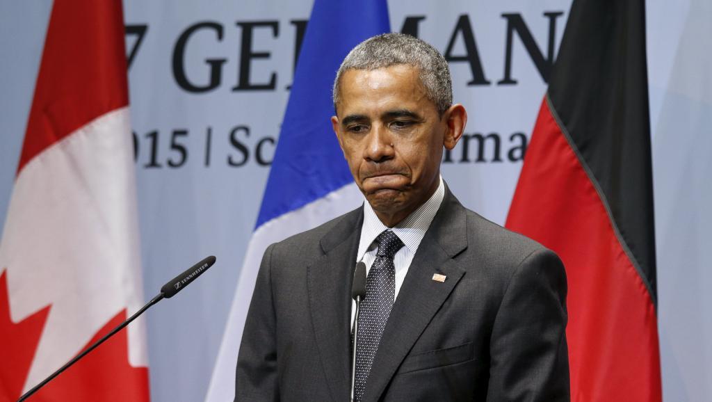 Barack Obama, le président des Etats-Unis, lors d'une conférence de presse à l'issue du sommet du G7 en Allemagne, ce lundi 8 juin. REUTERS/Kevin Lamarque