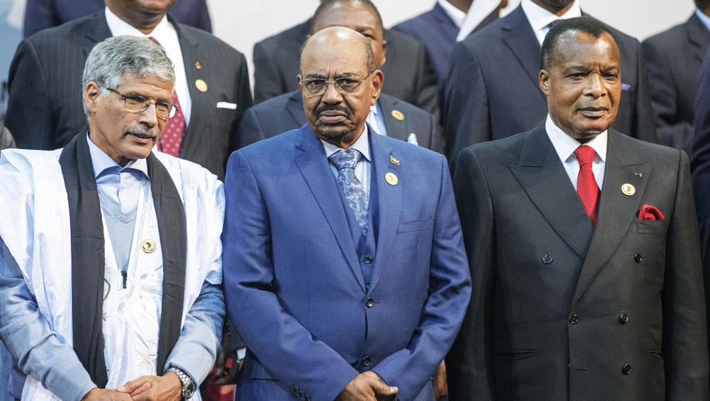 Sous le coup d'une demande d'extradition, le président soudanais Omar el-Béchir (c) a posé sur la traditionnelle photo de famille des dirigeants de l'UA, dimanche 14 juin.