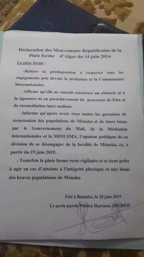 La plate forme décide de quitter la ville de Ménaka (officiel)