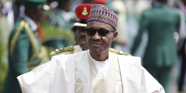 Le président nigérian Muhammadu Buhari, à Abuja le 29 mai. © Sunday Alamba/AP/SIPA