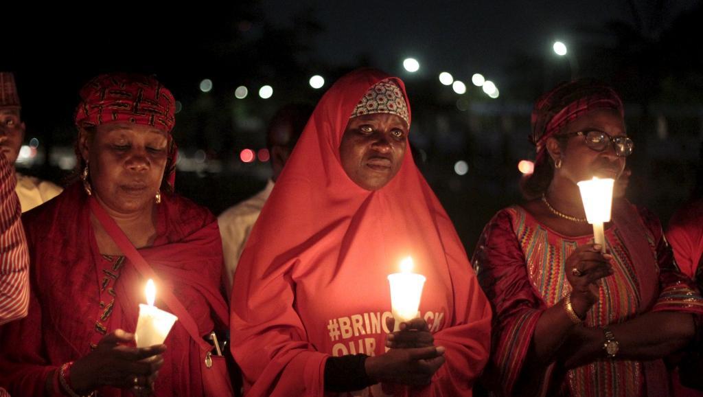 La marche des familles des lycéennes de Chibok s'est poursuivie par une veillée, jeudi 27 août à Abuja. REUTERS/Afolabi Sotunde