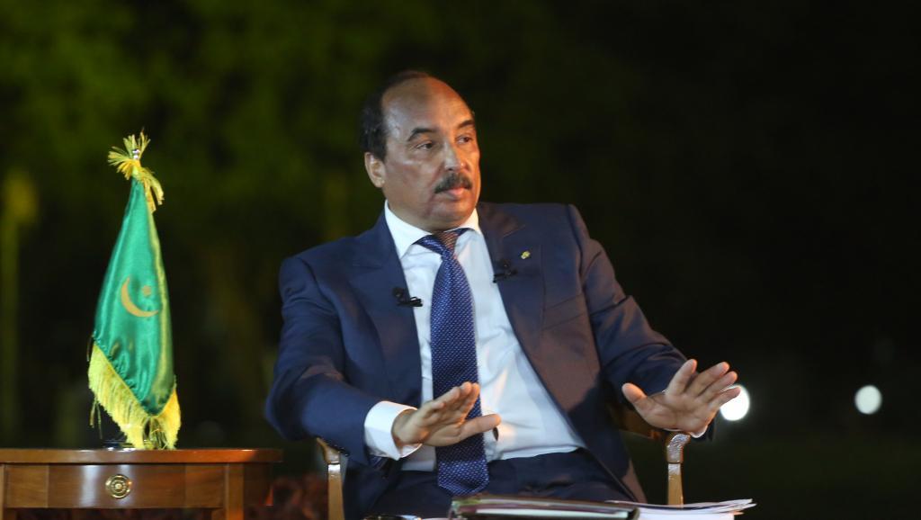 Mohamed Ould Abdel Aziz, le président mauritanien, lors d'une conférence de presse en mars 2015. AFP PHOTO / WATT ABELJELIL