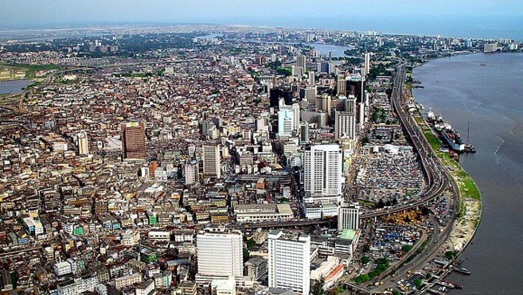 Vue aérienne d'une partie de Lagos, Nigeria. Wikimedia