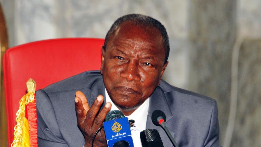 Le président guinéen Alpha Condé, lors d'une conférence de presse, le 27 août 2015. AFP/CELLOU BINANI