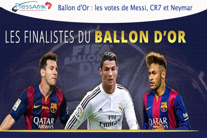 Ballon d'Or : les votes de Messi, CR7 et Neymar