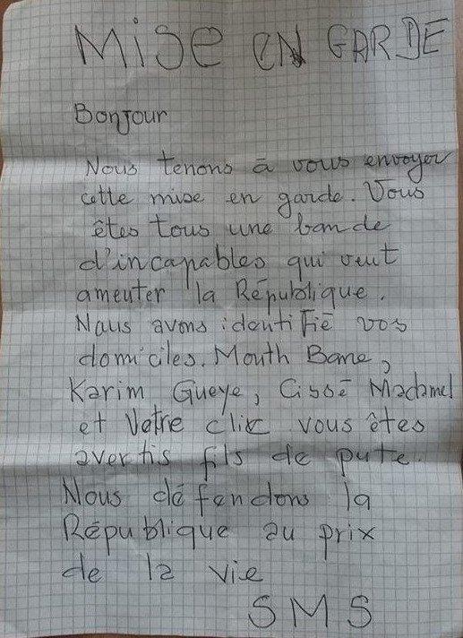 """Menace de mort : la Coalition """"Jubanti Sénégal""""  reçoit une lettre d'avertissement"""
