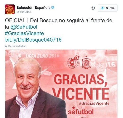 Espagne : Del Bosque, c'est fini (officiel)