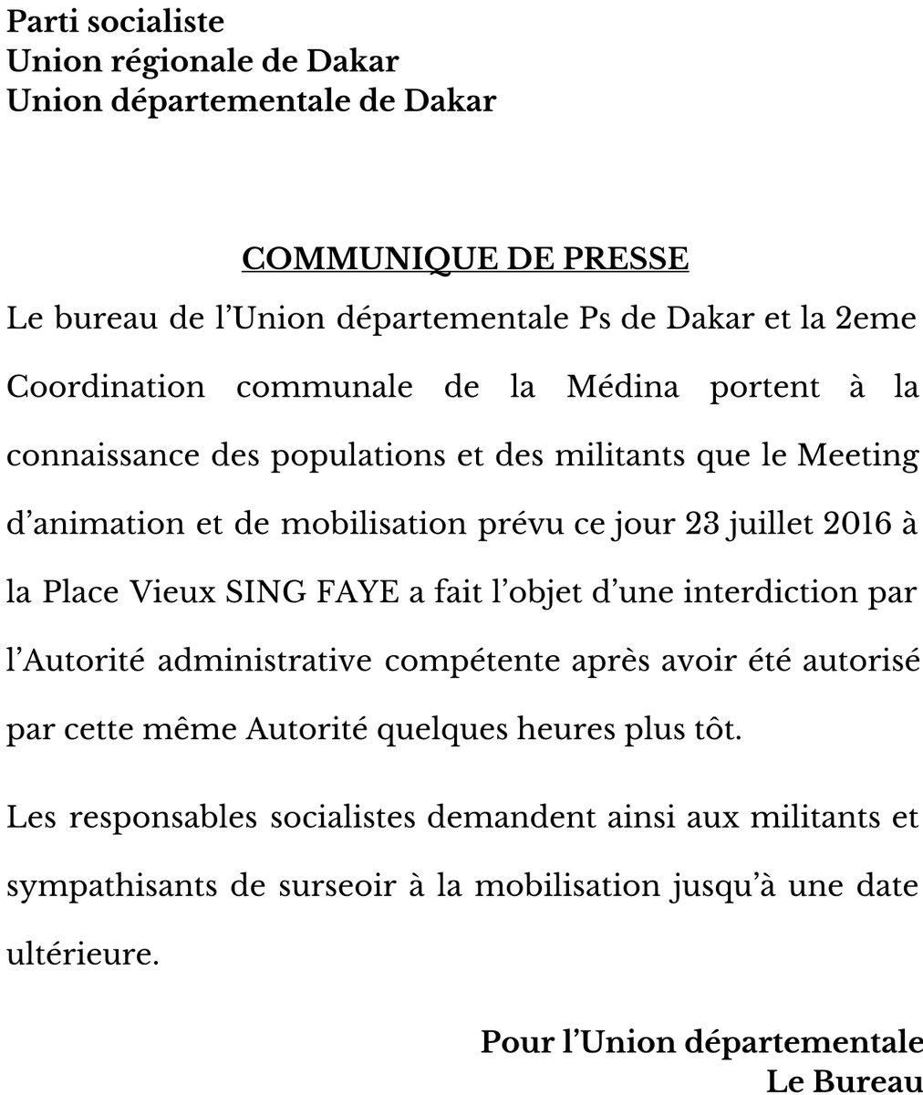 Dernière minute : Khalifa Sall et Cie se plient à l'interdiction du Préfet de Dakar