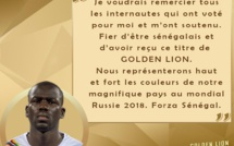 "Elu ""Golden Lion 2017"", Kalidou Koulibaly remercie les internautes sénégalais"