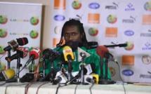 Aliou Cissé sélectionneur de l'équipe nationale du Sénégal, face à la presse