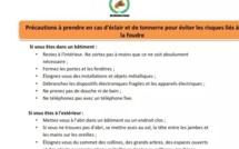 Les dispositifs à prendre en cas de pluie pour échapper à la foudre (Direction de la Protection civile Burkina)