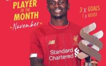 Sadio Mané élu joueur du mois de Novembre à Liverpool
